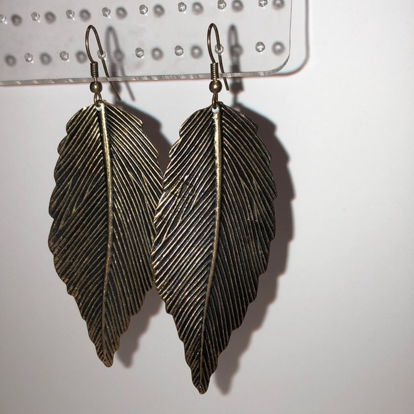 Jewelry - Brass Leaf Earrings